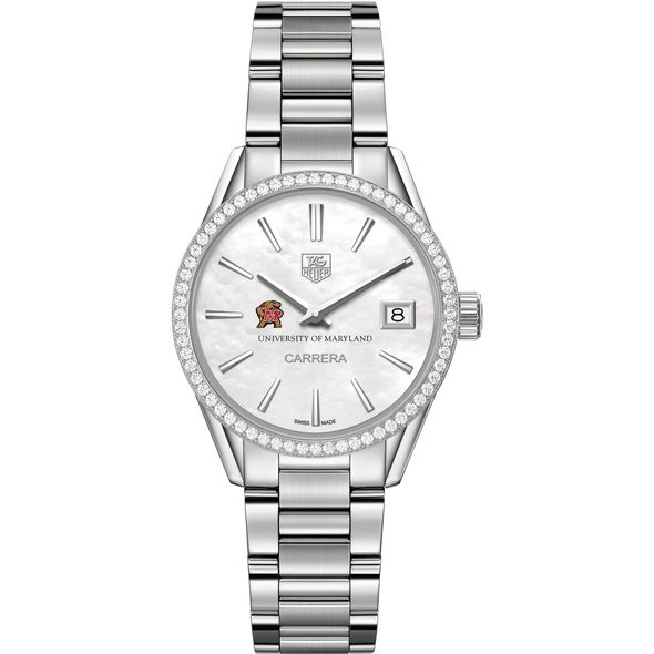 University of Maryland Women's TAG Heuer Steel Carrera with MOP Dial & Diamond Bezel - Image 2