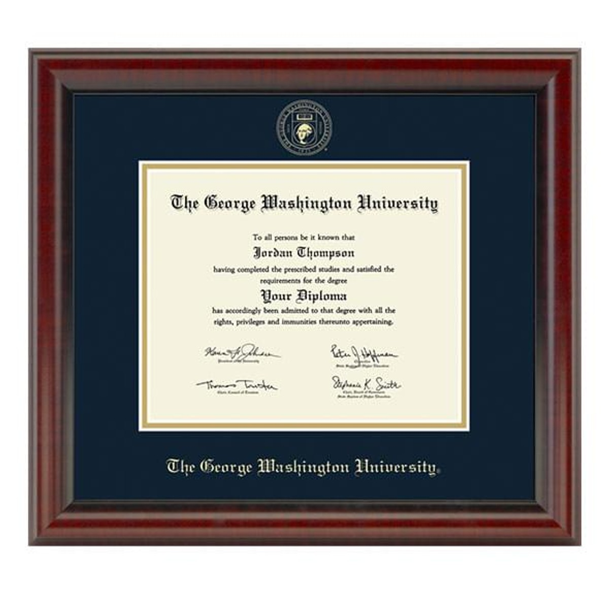 Official George Washington University Diploma Frame The