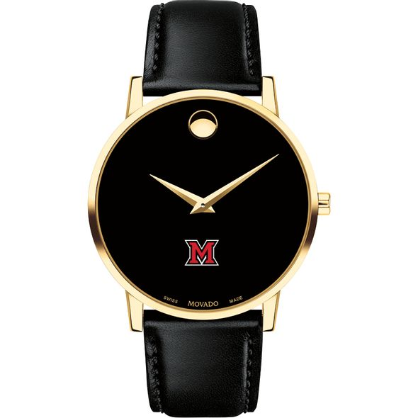 Miami University Men's Movado Gold Museum Classic Leather - Image 2