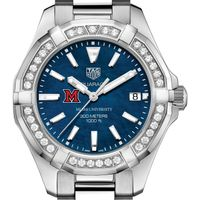 Miami University Women's TAG Heuer 35mm Steel Aquaracer with Blue Dial