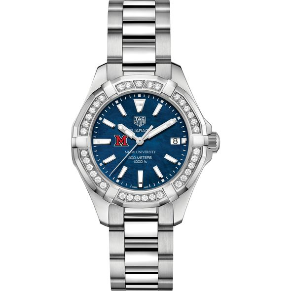 Miami University Women's TAG Heuer 35mm Steel Aquaracer with Blue Dial - Image 2