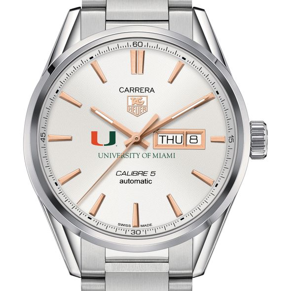 University of Miami Men's TAG Heuer Day/Date Carrera with Silver Dial & Bracelet