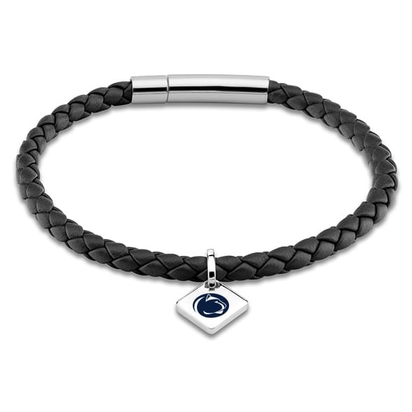Penn State Leather Bracelet with Sterling Silver Tag - Black