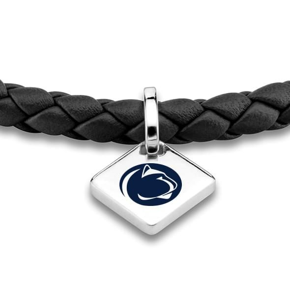 Penn State Leather Bracelet with Sterling Silver Tag - Black - Image 2