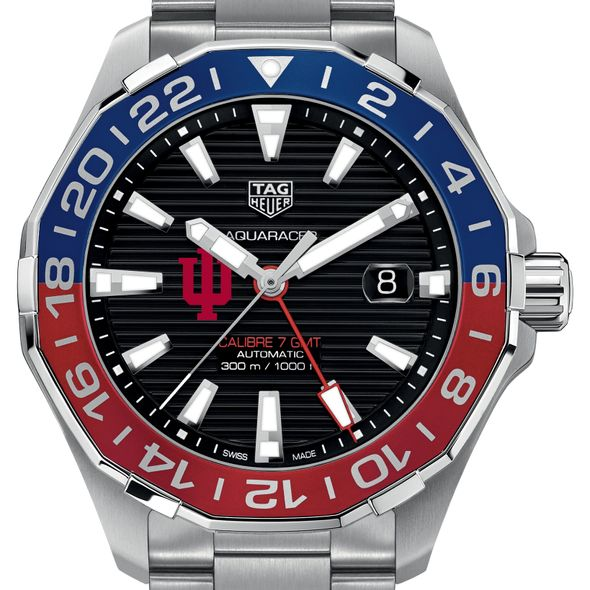 Indiana Men's TAG Heuer Automatic GMT Aquaracer with Black Dial and Blue & Red Bezel - Image 1
