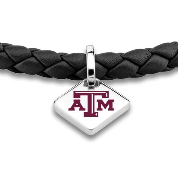 Texas A&M Leather Bracelet with Sterling Silver Tag - Black - Image 2
