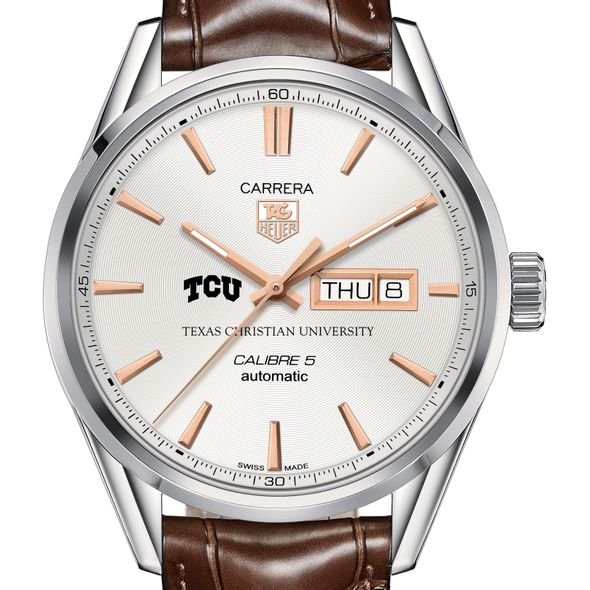 Texas Christian University Men's TAG Heuer Day/Date Carrera with Silver Dial & Strap