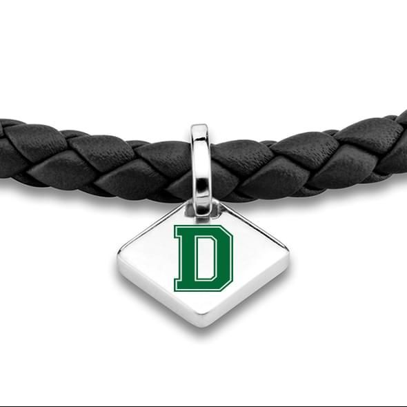 Dartmouth Leather Bracelet with Sterling Silver Tag - Black - Image 2