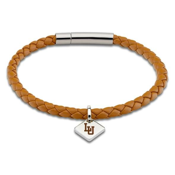 Lehigh University Leather Bracelet with Sterling Silver Tag - Saddle