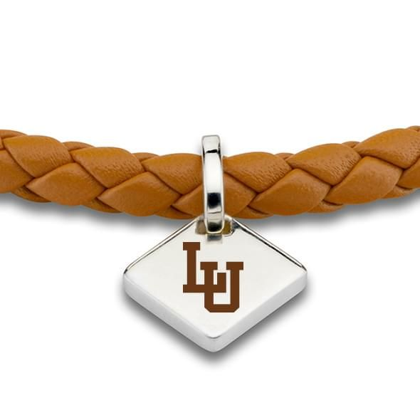 Lehigh University Leather Bracelet with Sterling Silver Tag - Saddle - Image 2