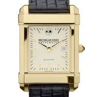 Michigan State Men's Gold Quad with Leather Strap
