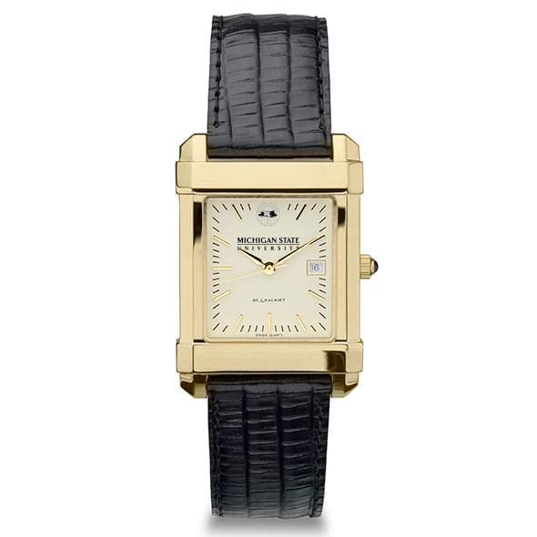 Michigan State Men's Gold Quad with Leather Strap - Image 2