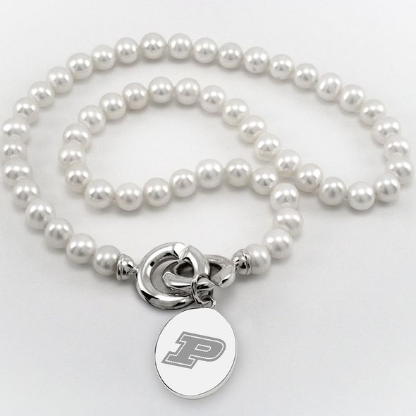 Purdue University Pearl Necklace with Sterling Silver Charm