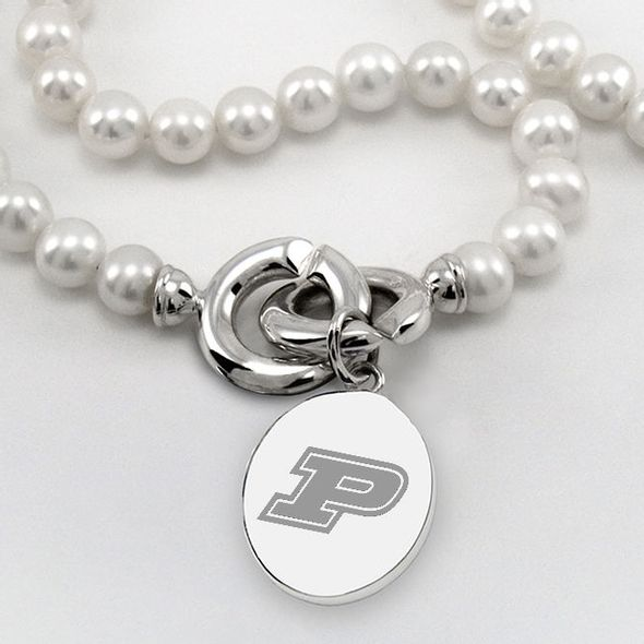 Purdue University Pearl Necklace with Sterling Silver Charm - Image 2