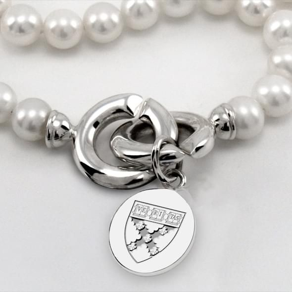 Harvard Business School School Pearl Necklace with Sterling Silver Charm - Image 2