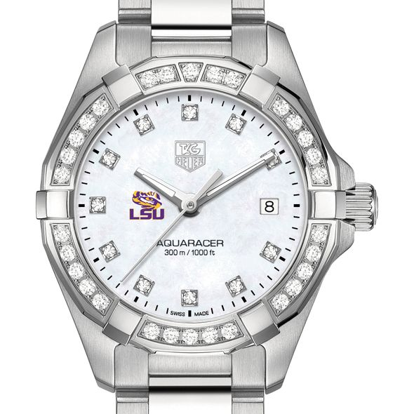 Louisiana State University W's TAG Heuer Steel Aquaracer with MOP Dia Dial & Bezel