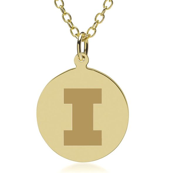 University of Illinois 18K Gold Pendant & Chain