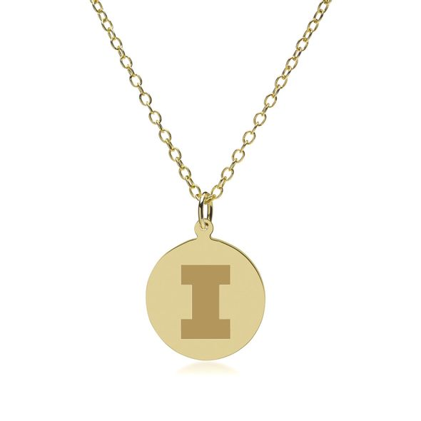 University of Illinois 18K Gold Pendant & Chain - Image 2