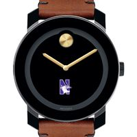 Northwestern Men's Movado BOLD with Brown Leather Strap