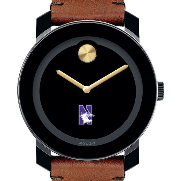Northwestern University Men's Movado BOLD with Brown Leather Strap