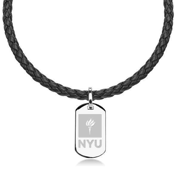 New York University Leather Necklace with Sterling Dog Tag
