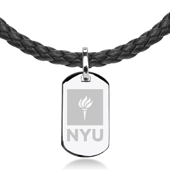 New York University Leather Necklace with Sterling Dog Tag - Image 2