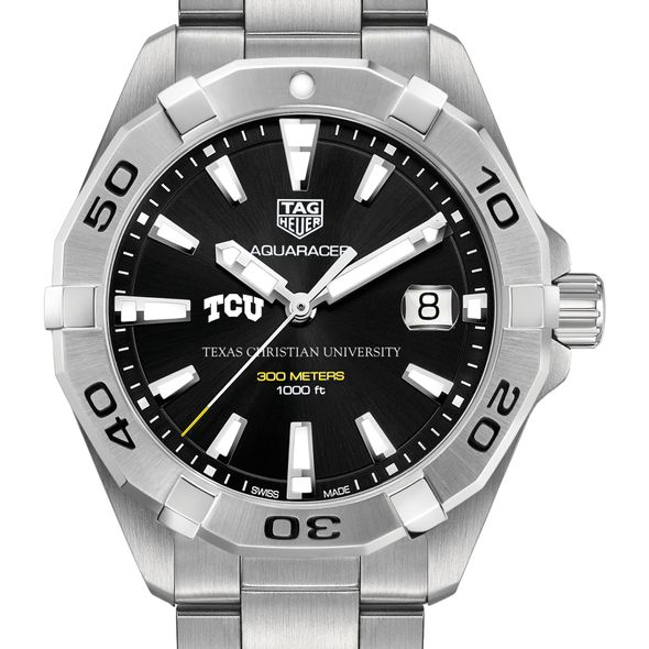 Texas Christian University Men's TAG Heuer Steel Aquaracer with Black Dial