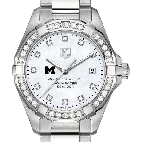 University of Michigan W's TAG Heuer Steel Aquaracer with MOP Dia Dial & Bezel