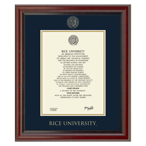 Rice University Diploma Frame, the Fidelitas