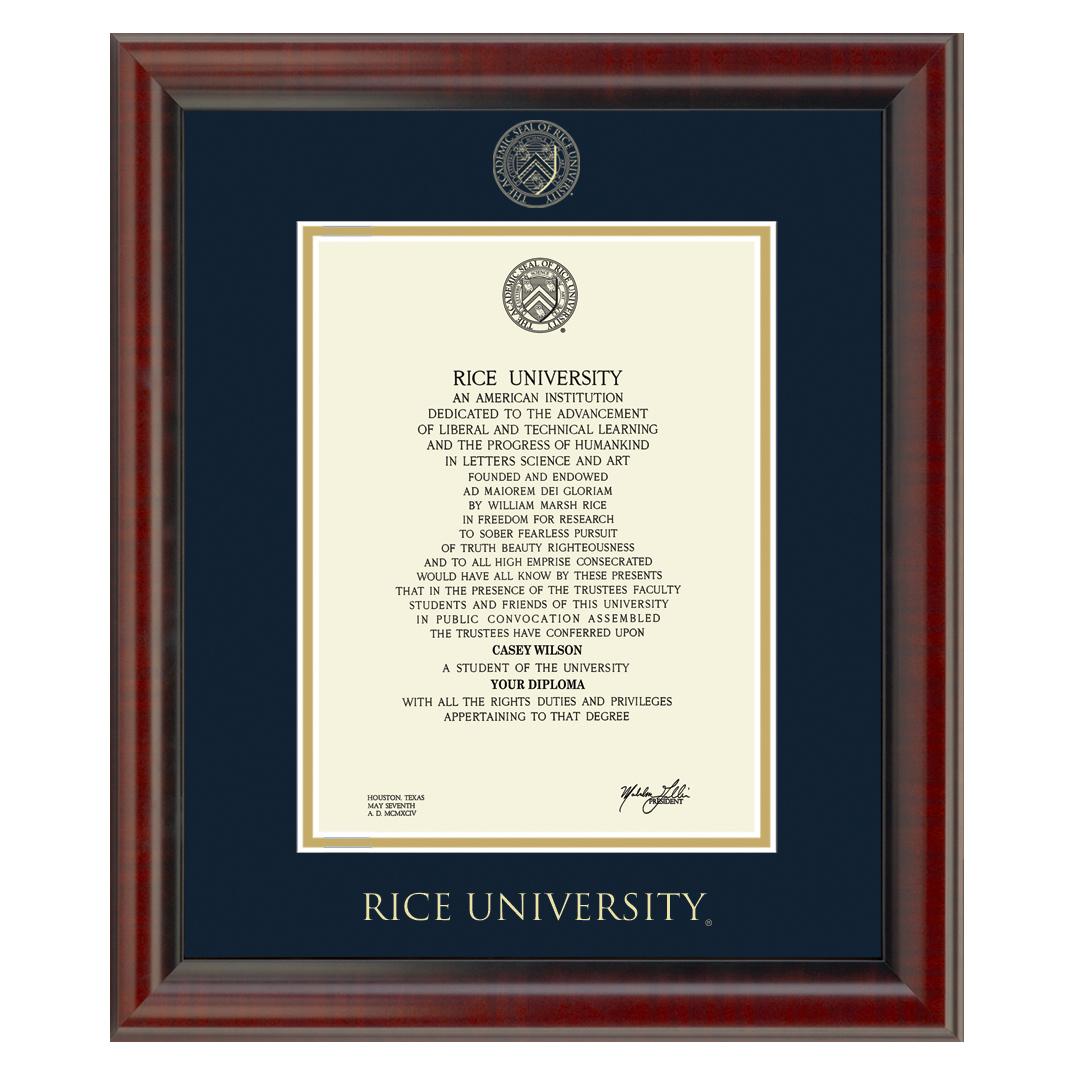 Official Rice University Diploma Frame, the Fidelitas - Graduation ...