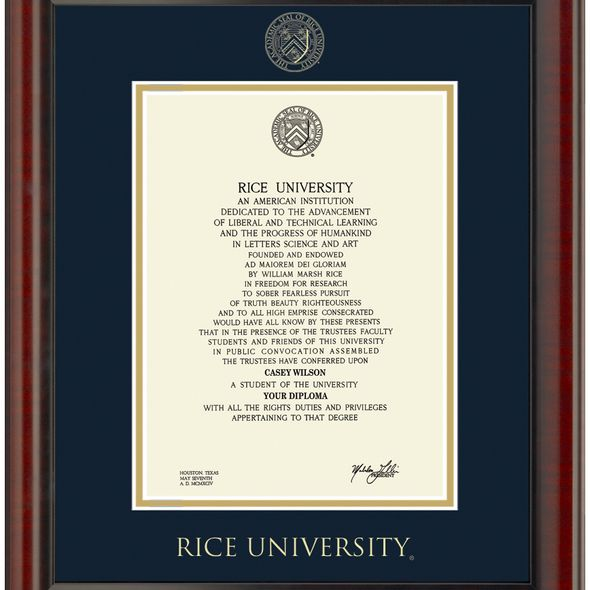 Rice University Diploma Frame, the Fidelitas - Image 2