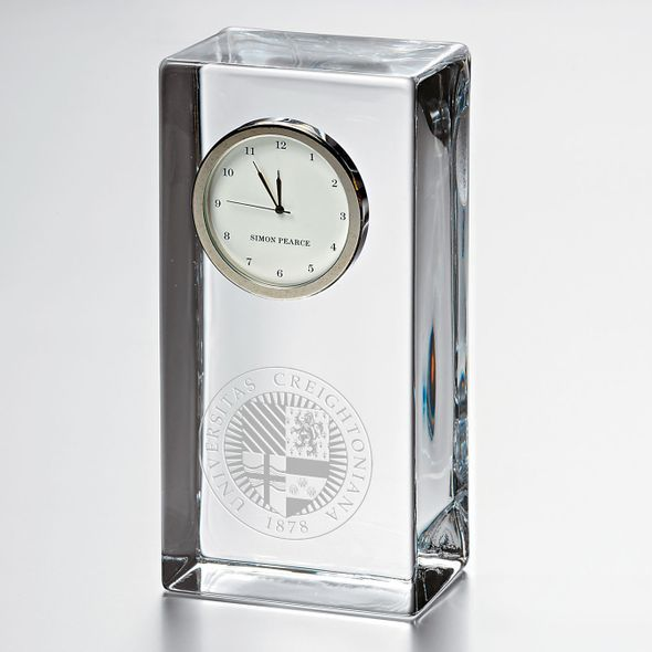 Creighton Tall Glass Desk Clock by Simon Pearce