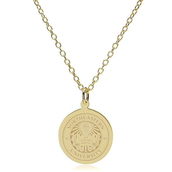 Northeastern 18K Gold Pendant & Chain - Image 1