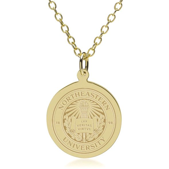 Northeastern 18K Gold Pendant & Chain - Image 2