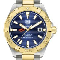Oklahoma State Men's TAG Heuer Automatic Two-Tone Aquaracer with Blue Dial