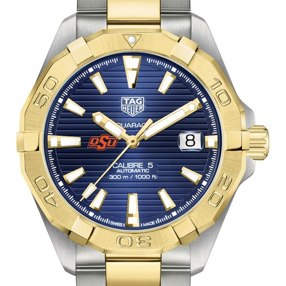 Oklahoma State Men's TAG Heuer Automatic Two-Tone Aquaracer with Blue Dial - Image 1