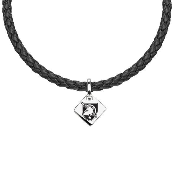 US Military Academy Leather Necklace with Sterling Silver Tag - Image 1