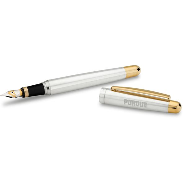 Purdue University Fountain Pen in Sterling Silver with Gold Trim