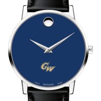George Washington University Men's Movado Museum with Blue Dial & Leather Strap