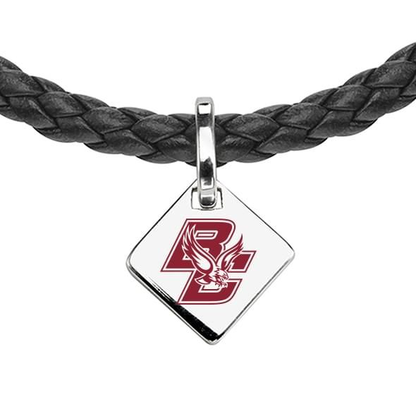 Boston College Leather Necklace with Sterling Silver Tag - Image 2