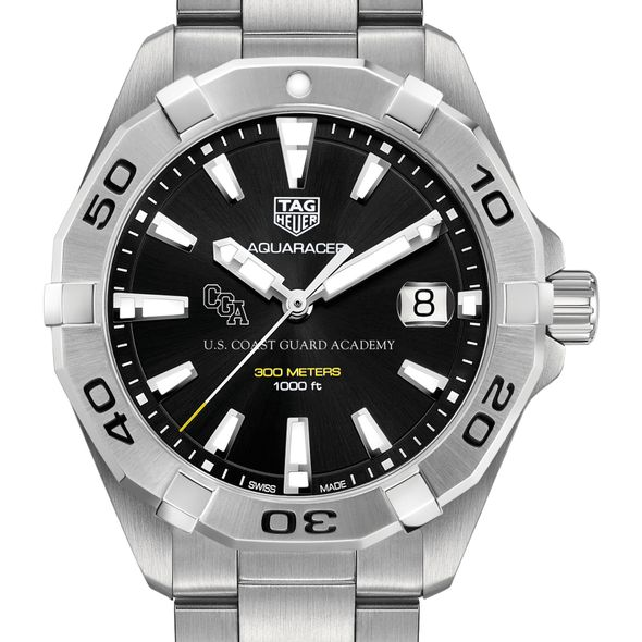 US Coast Guard Academy Men's TAG Heuer Steel Aquaracer with Black Dial