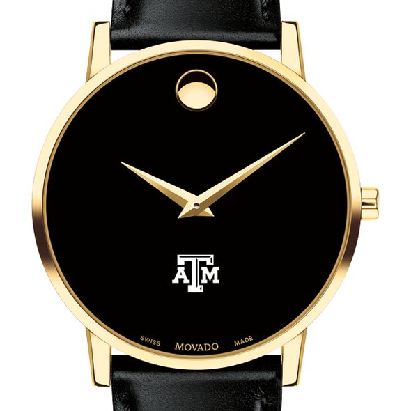 Texas A&M University Men's Movado Gold Museum Classic Leather