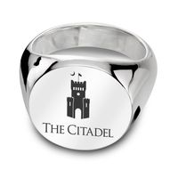 Citadel Sterling Silver Round Signet Ring