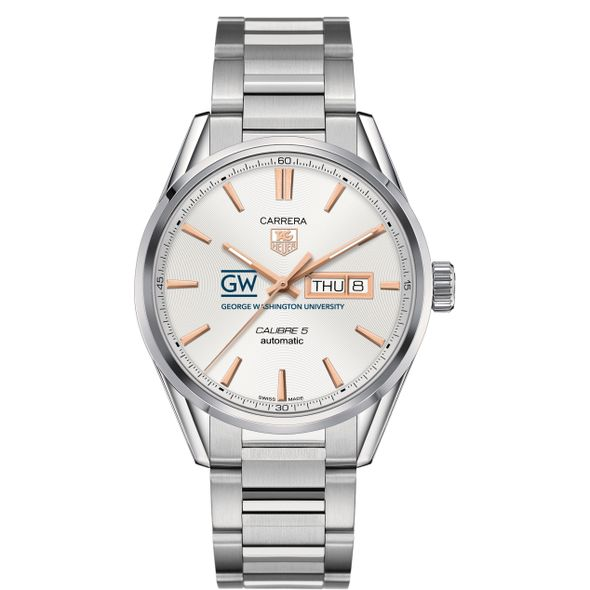 George Washington University Men's TAG Heuer Day/Date Carrera with Silver Dial & Bracelet - Image 2