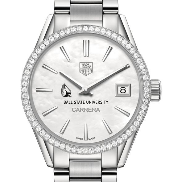 Ball State Women's TAG Heuer Steel Carrera with MOP Dial & Diamond Bezel - Image 1