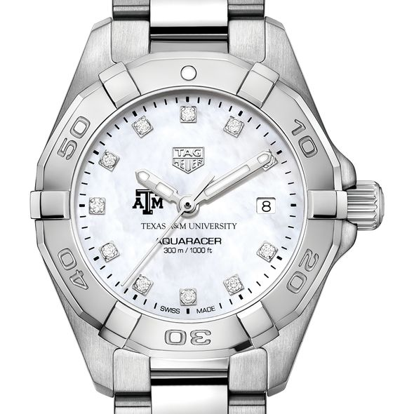 Texas A&M University W's TAG Heuer Steel Aquaracer w MOP Dia Dial