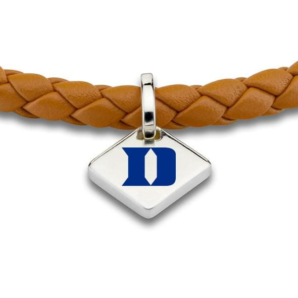 Duke Leather Bracelet with Sterling Silver Tag - Saddle - Image 2