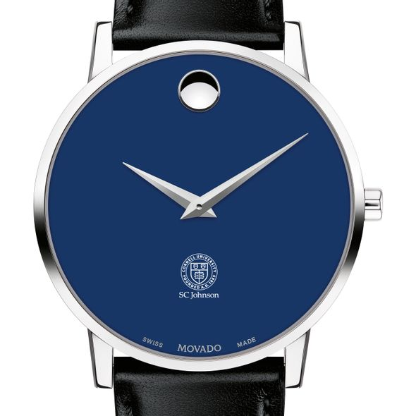 Cornell SC Johnson College of Business Men's Movado Museum with Blue Dial & Leather Strap