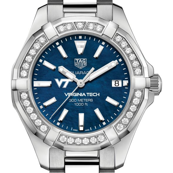 Virginia Tech Women's TAG Heuer 35mm Steel Aquaracer with Blue Dial