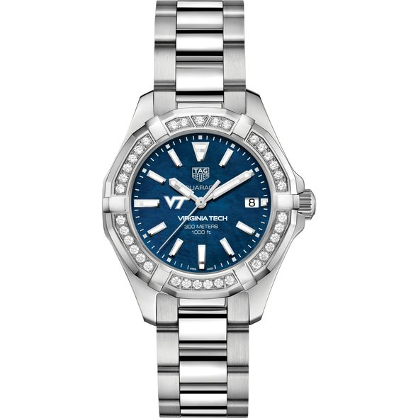 Virginia Tech Women's TAG Heuer 35mm Steel Aquaracer with Blue Dial - Image 2